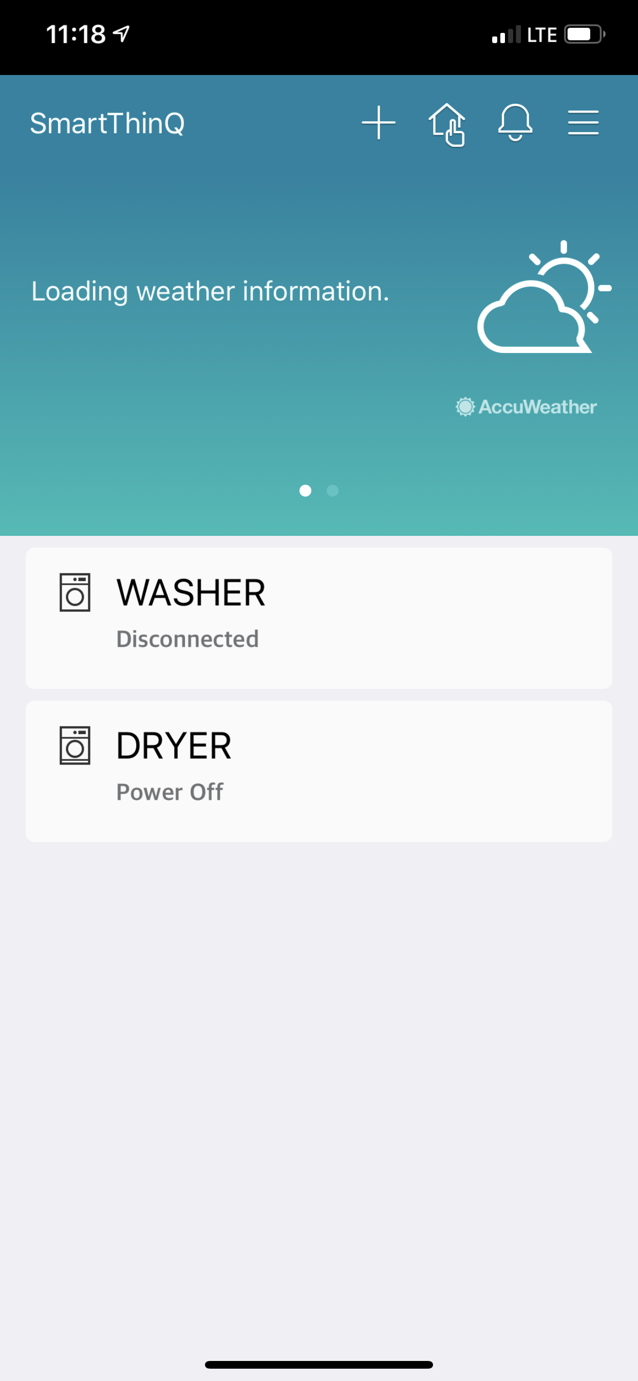 Washer shows as disconnected in summary page of app — LG - Ask the