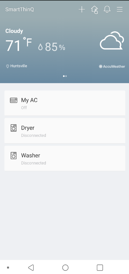 Washer shows as disconnected in summary page of app — LG